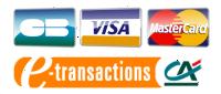 CB, VISA, Mastercard via e-Ttansactions du Crédit Agricole